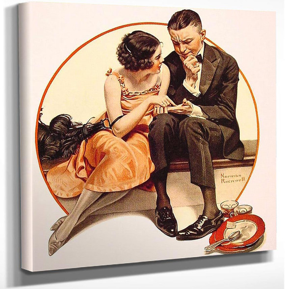 Girl Reading Palm 1921 By Norman Rockwell Art Reproduction from Wanford.