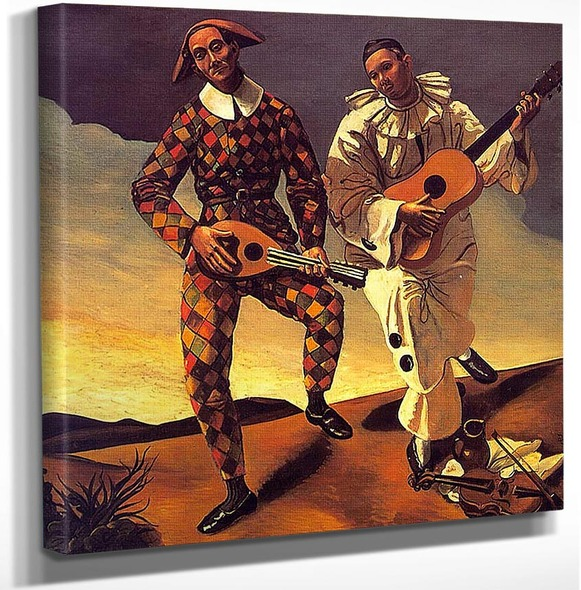 Harlequin And Pierrot By Andre Derain Art Reproduction from Wanford.
