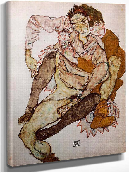 Seated Couple Egon And Edith Schiele 1915 By Egon Schiele
