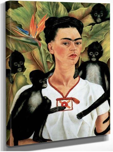 Self Portrait With Monkeys By Frida Kahlo
