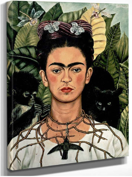 Self Portrait With Necklace Of Thorns By Frida Kahlo