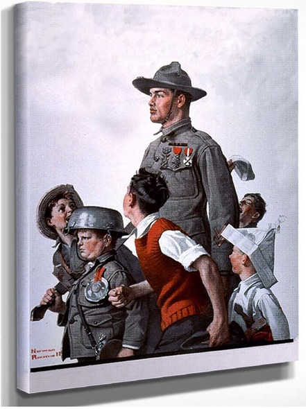 Soldier And Comrads By Norman Rockwell
