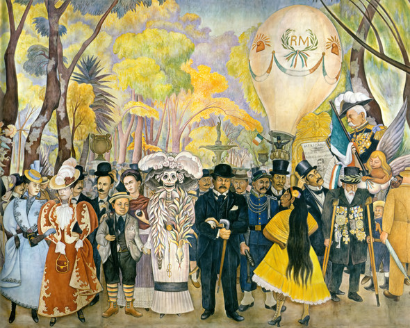 Dream Sunday Afternoon In Alameda Park (Centre detail) By Diego Rivera