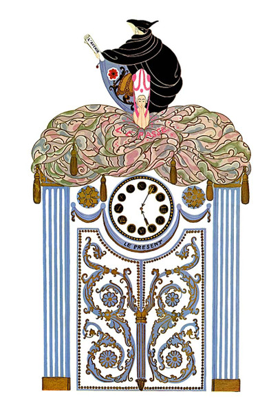 The Clock Awakening The Past By Erte Art Reproduction from Wanford