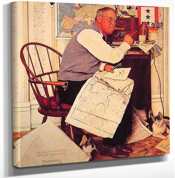 Man Charting Wmaneuvers 1944 By Norman Rockwell Art Reproduction from Wanford.