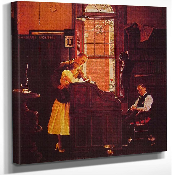 Marriage License 1935 By Norman Rockwell Art Reproduction from Wanford.
