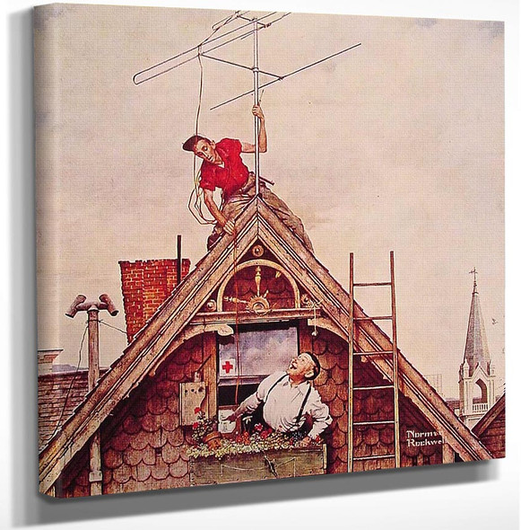 New Television Antenna 1949 By Norman Rockwell Art Reproduction from Wanford.