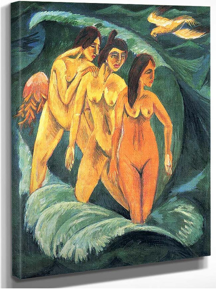 Three Bathers 1913 By Ernst Ludwig Kirchner