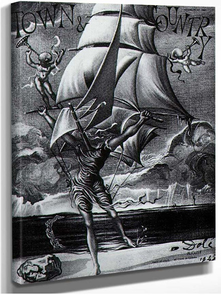 Victory Woman Metamorphosing Into A Boat With Angels By Salvador Dali