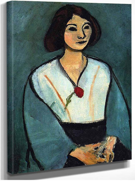 Woman In Green With A Carnation 1909 By Henri Matisse
