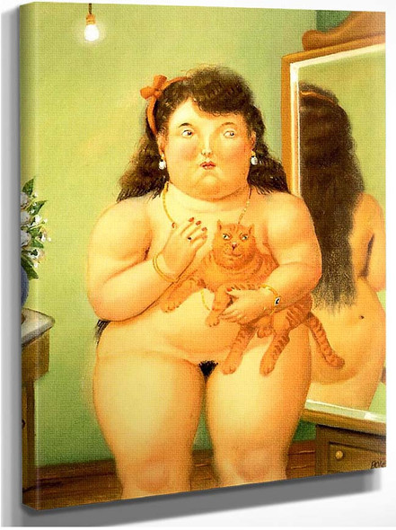Woman With A Cat By Fernando Botero