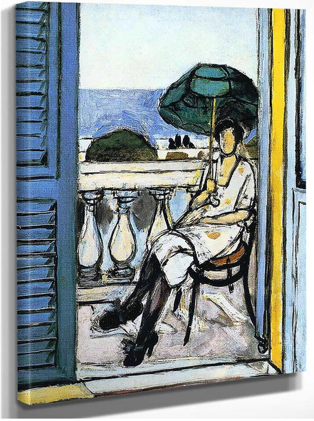 Woman With A Green Parasol On A Balcony 1919 By Henri Matisse