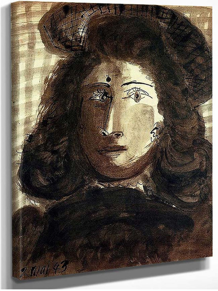 Woman With Hat 1943 By Pablo Picasso