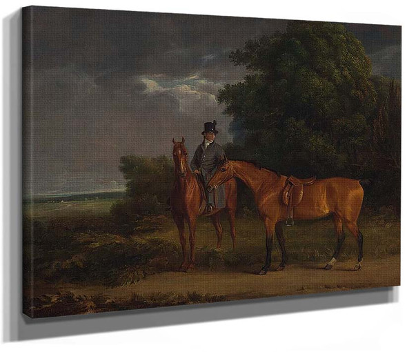 A Groom Mounted On A Chestnut Hunter He Holds A Bay Hunter By The Reins By Jacques Laurent Agasse