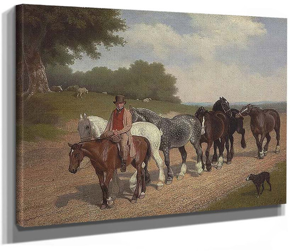 A Groom With A String Of Carthorses And A Dog On A Country Road By Jacques Laurent Agasse