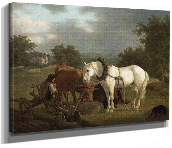 A Rural Landscape With A Ploughman Resting With His Grey Horse Cattle And Dog By Jacques Laurent Agasse
