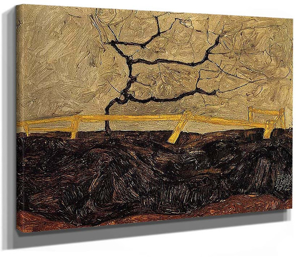 Bare Tree Behind A Fence 1912 By Egon Schiele