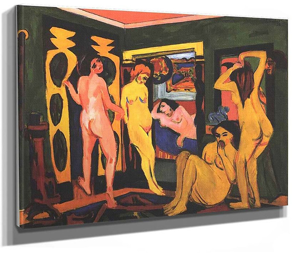 Bathing Women In A Room 1908 By Ernst Ludwig Kirchner