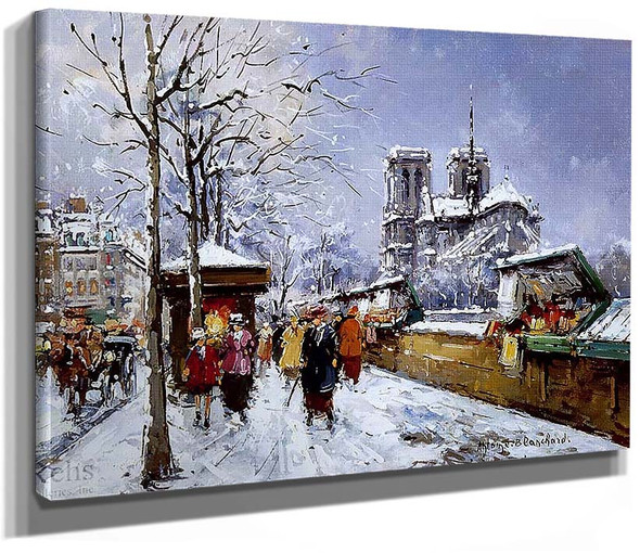 Booksellers Notre Dame Winter By Antoine Blanchard