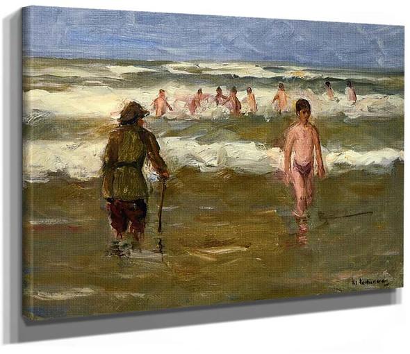 Boys Bathing With Beach Warden 1907 By Max Liebermann