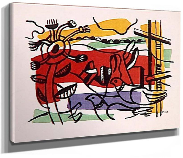 Composition In Two Birds Landscape With Birds 1954 By Fernand Leger