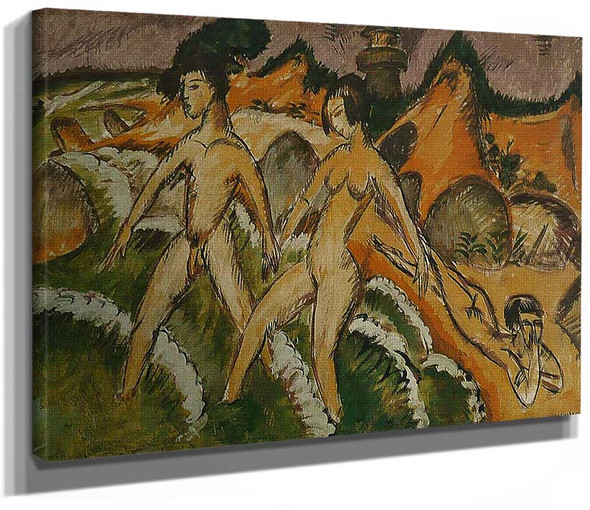 Female Nudes Striding Into The Sea By Ernst Ludwig Kirchner