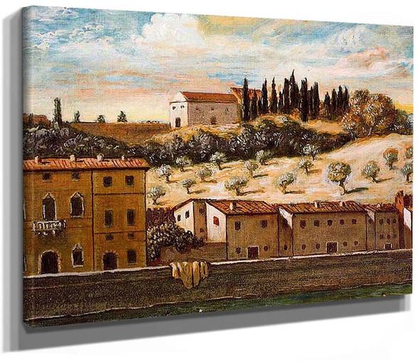 Florence The Banks Of Arno By Giorgio De Chirico