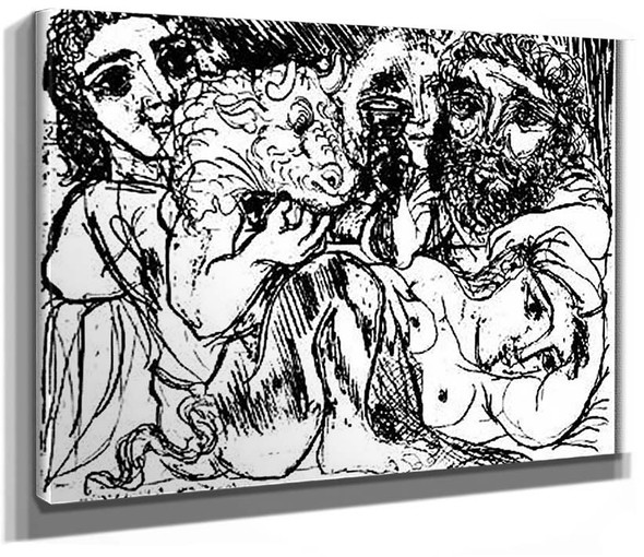 Minotaur Drinker And Women By Pablo Picasso