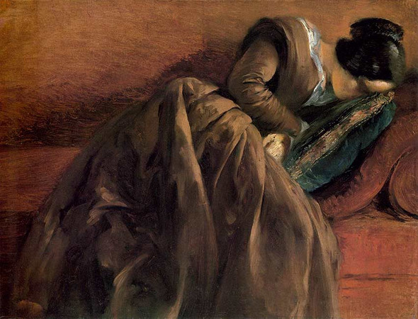 Sister Emily Sleeping By Menzel Adolph Von