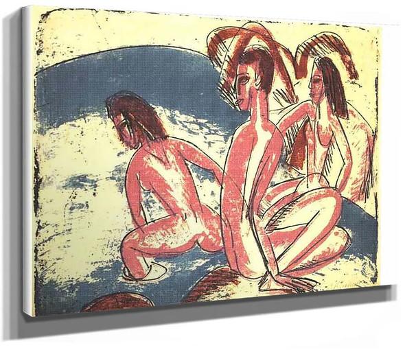Tree Bathers Sitting On Rocks By Ernst Ludwig Kirchner