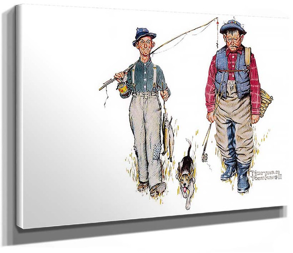 Two Old Men And Dog By Norman Rockwell