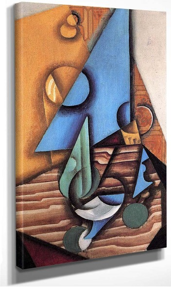 Bottle And Glass On A Table 1914 By Juan Gris