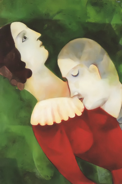 Lovers In Green 1917 By Marc Chagall