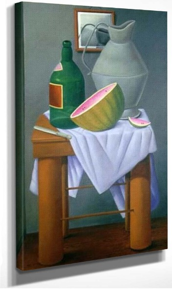 Still Life With Watermelon And Green Bottle By Fernando Botero