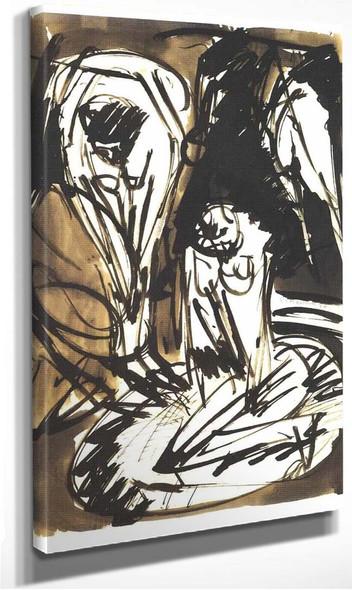 Two Bathing Girls In A Bathtub By Ernst Ludwig Kirchner