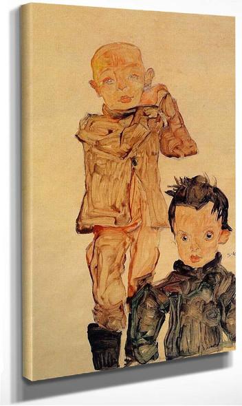 Two Boys 1910 By Egon Schiele