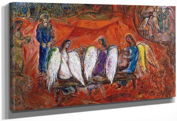 Abraham And Three Angels 1966 By Marc Chagall