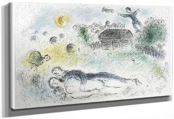 Lovers Near Isba 1980 By Marc Chagall