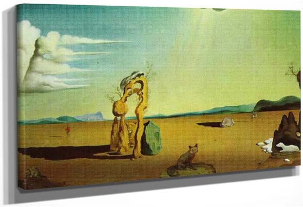 Nude In The Desert Landscape By Salvador Dali