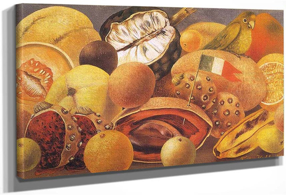 Still Life With Parrot And Fruit 1951 By Frida Kahlo