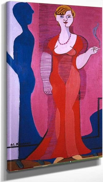 Blond Woman In A Red Dress Portrait Of Elisabeth Hembus By Ernst Ludwig Kirchner