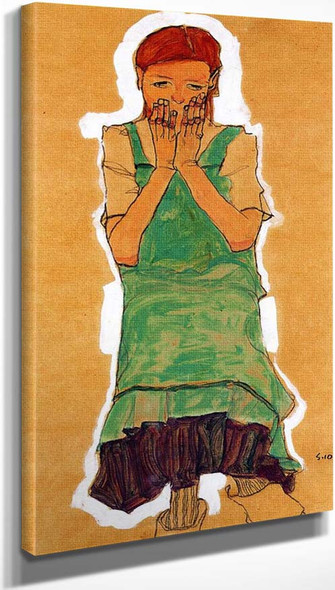 Girl With Green Pinafore 1910 By Egon Schiele