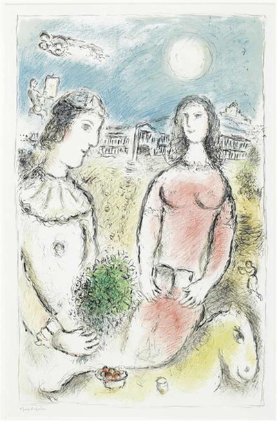 A Couple In Twilight 1980 By Marc Chagall Art Reproduction from Wanford