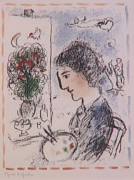 A Flowered Easel 1984 By Marc Chagall Art Reproduction from Wanford