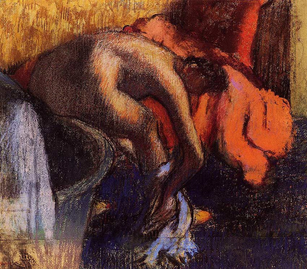After Bathing Woman Drying Her Leg By Edgar Degas Art Reproduction from Wanford.