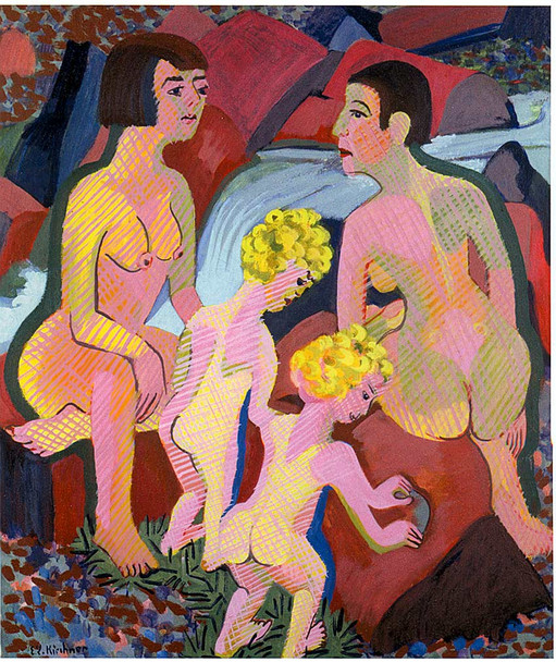Bathing Women And Children 1932 By Ernst Ludwig Kirchner Art Reproduction from Wanford