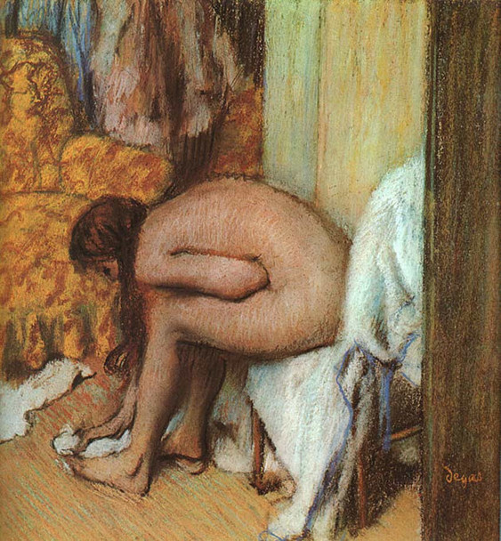 After The Bath Woman Drying Her Feet 1886 By Edgar Degas Art Reproduction from Wanford.