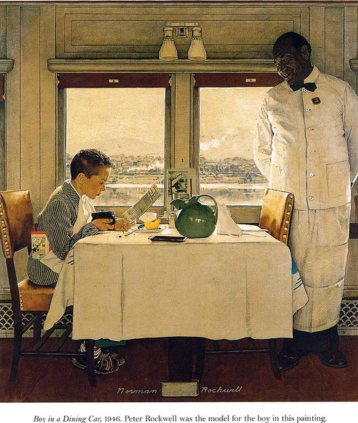 Boy In A Dining Car 1947 By Norman Rockwell Art Reproduction from Wanford