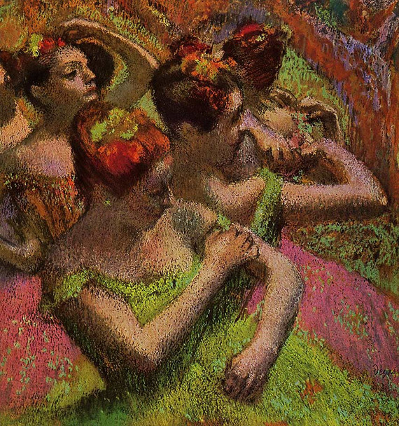 Ballerinas Adjusting Their Dresses By Edgar Degas Art Reproduction from Wanford.