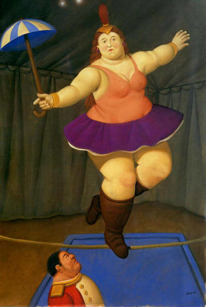 Equilibrist With Umbrella By Fernando Botero Art Reproduction from Wanford